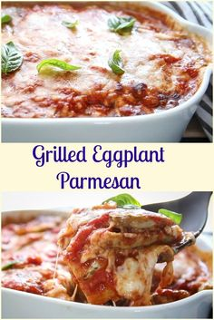Grilled Eggplant Parmesan a delicious classic Italian recipe, a non-fried baked cheesy dish the whole family will love, gluten free, vegetarian.