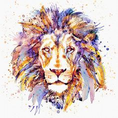 Lion head Watercolor portrait Wall art Aquarelle by Artsyndrome
