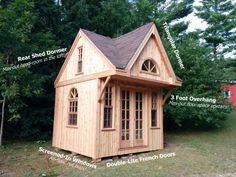 The ultimate bunkie squeezes out as much space as possible! Oh and it's permit-free! Tiny House Loft, Tiny House Plans, Cottage Design, Tiny House Design, Diy Cabin, Little Cabin, Shed Homes, Front Rooms, Outdoor Sheds