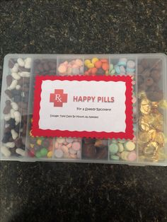 Happy pills for an after surgery gift                                                                                                                                                                                 More