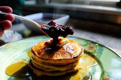 Cornmeal Pancakes with Blackberry Syrup.