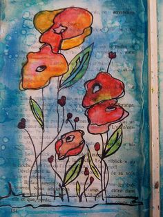 Mixed media messages - on a book page @Erin B B Stewart- don't know if you do watercolor but this would look great!