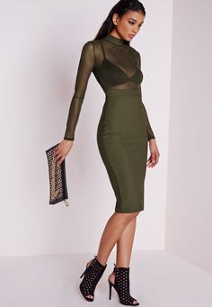 Long Sleeve Mesh Top Midi Dress Khaki - Dresses - Midi Dresses - Missguided