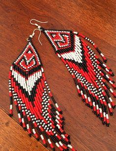 Red Black White Native American Inspired Long Seed Bead Earrings Drop/Dangle #handmade #DropDangle