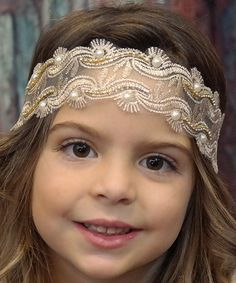 Look at this #zulilyfind! Ivory & Gold Vintage Pearl Leaf Lace Headband by Chicky Chicky Bling Bling #zulilyfinds