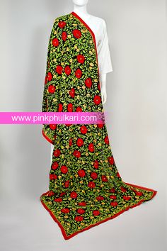 PinkPhulkari California Phulkari Hand Embroidered Phulkari Dupatta. To shop Visit our website www.pinkphulkari.com Images copyrights@PinkPhulkari California All rights reserved. Apron, California, Website, Shopping, Image, Fashion, Moda, La Mode, Fasion