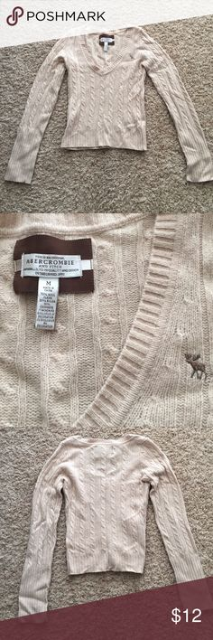 Abercrombie and Fitch wool sweater Abercrombie and Fitch size M (runs small) cream/tan wool sweater in good condition Abercrombie & Fitch Sweaters Crew & Scoop Necks
