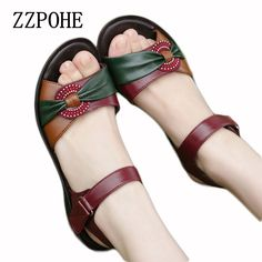 Cheap flat leather sandals, Buy Quality new women's sandals directly from China leather sandals Suppliers: ZZPOHE 2017 summer new fashion Woman sandals mother large size Flat leather Sandals slip comfort elderly Soft bottom sandals Mules Shoes Flat, Shoes Flats Sandals, Leather Sandals Flat, Sandals Outfit, Girls Sandals, Fancy Shoes, Buy Shoes, Minimalist Shoes, Sandals