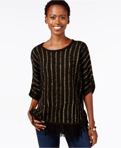 NY Collection Petite Metallic-Stripe Poncho Sweater - Sweaters - Women - Macy's