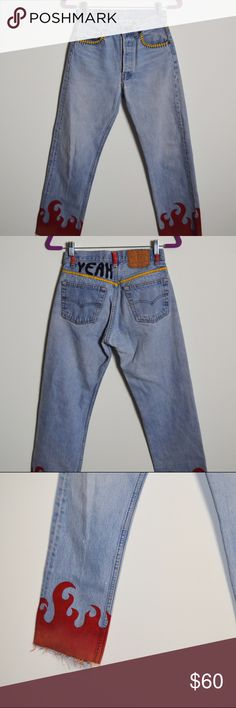 Vintage Reconstructed Denim Jeans Painted and drawn on to create the edgiest of jeans you'll ever lay your eyes on. Jeans