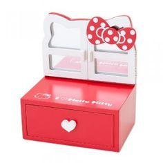 Hello Kitty Mini Vanity Stand Mirror Wood I Love Kitty Sanrio Japan Exclusive