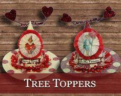 Valentine's Day Tree Toppers Valentine Banner, Tinsel Tree, Feather Tree, Saint Valentine, Valentines Day Decorations, Vintage Valentines, Tree Toppers, Garland, Decorative Plates