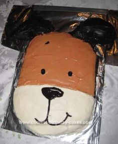 Homemade Kipper the Dog Cake: My 2 year old loves Kipper, so for his 3rd birthday, he said he wanted a Kipper the Dog Cake.   I made the cake homemade from my Betty Crocker cookbook,