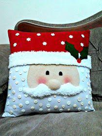 Manualidades decorativas: Clase 1 para aprender a elaborar cojines navideños Christmas Fabric Crafts, Christmas Cushions, Christmas Sewing, Christmas Bags, Christmas Pillow, Felt Christmas, Christmas Projects, Christmas Crafts, Christmas Gift You Can Make