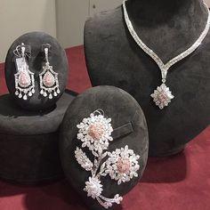 Suit- diamond,opal or skin angel coral-necklace,earrings,brooch-