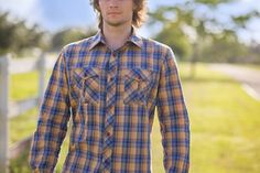 Bullet Blues Custom Apparel, LLC Patton shirt is made in Los Angeles with a premium 100% cotton. This Plaid Button-Up Shirt is featured in the OPEN RANGE of the May/June issue of Cowboys & Indians - The Premier Magazine of the West.  IN SALE at www.bulletbluesca.com #BulletBlues #madeinUSA #Plaid #ButtonUp