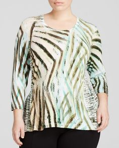 Nic + Zoe Plus Voyage Abstract Print Top
