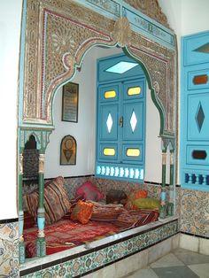 Beautiful traditional interior of a house in Sidi Bou Said, Tunisia