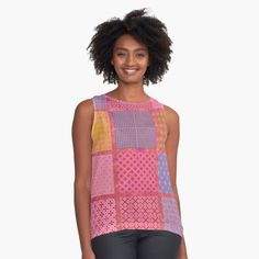 Bright Colorful and Girly Coral Pink Patchwork Quilt Tile Print Sleeveless Top Tartan Pattern, Retro Shirts, Blouses For Women, Women's Blouses, Pink Leggings, Girly Outfits, Coral Pink, Pink Fashion, Tile
