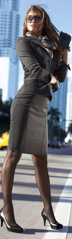 This is such a classy but sexy look! Simple skirt suit with scarf and great simple heels