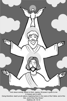 The Holy Trinity represented as fantabulous cartoons.  This is very pretty and I love Jesus' beard, nice cut.