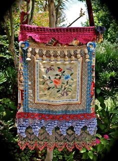 """New Cheap Bags. The location where building and construction meets style, beaded crochet is the act of using beads to decorate crocheted products. """"Crochet"""" is derived fro Boho Tapestry, Tapestry Bag, Hippie Bags, Boho Bags, Woodstock Hippies, Gypsy Bag, Boho Gypsy, Butterfly Stitches, Carpet Bag"""