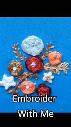 embroider with me Hand Embroidery Projects, Hand Embroidery Videos, Embroidery Stitches Tutorial, Embroidery On Clothes, Hand Work Embroidery, Embroidery Sampler, Creative Embroidery, Learn Embroidery, Embroidery For Beginners
