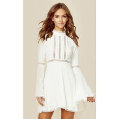 For Love and Lemons Willow Bell Sleeve Dress (1,720 EGP) ❤ liked on Polyvore featuring dresses, white, white cut out dress, lacy white dress, white day dress, white lace dress and bell sleeve dress