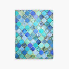 Cobalt Blue, Aqua & Gold Decorative Moroccan Tile Pattern | Duvet Cover
