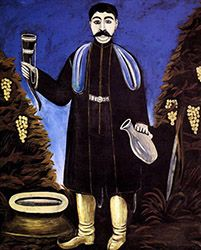 Niko Pirosmani - Prince with a Horn of Wine Russian Painting, Russian Art, Wine Painting, Painting Prints, Paintings, The Magic Flute, Art Database, Naive Art, Outsider Art