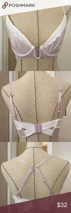 Free People Heartbeats Convertible Bra White and lavender Free People Bra. Unlined cups with underwire. Convertible straps go from traditional to racerback. Absolutely beautiful. Size 34C. Never worn. Free People Intimates & Sleepwear Bras