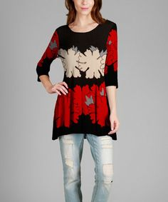 Look what I found on #zulily! Red & Black Floral Scoop Neck Tunic #zulilyfinds