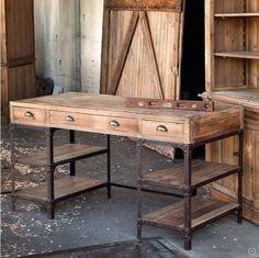 Natural pine & iron are utilized to create the look of authenticity portrayed by a rustic warehouse desk. Featuring three drawers accented with aged brass cup pulls and open shelving framed in textured bronze iron for generous storage options. Decor, Farmhouse Furniture, Furniture, Pine Furniture, Pine Desk, Vintage Industrial Furniture, Eclectic Desks, Industrial Design Furniture, Home Decor