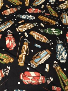 Tee'd Off Golf Theme 100% cotton fabric by the yard - Golf Bags fabric #DanMorrisforQuiltingTreasures