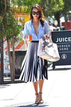 6a61b5e0f1c1ff skirt midi skirt stripes striped skirt jamie chung sandals shirt summer  outfits blogger Fashion Sites