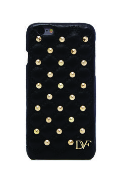 DVF iPhone 6 Studded Quilted Leather Case in black