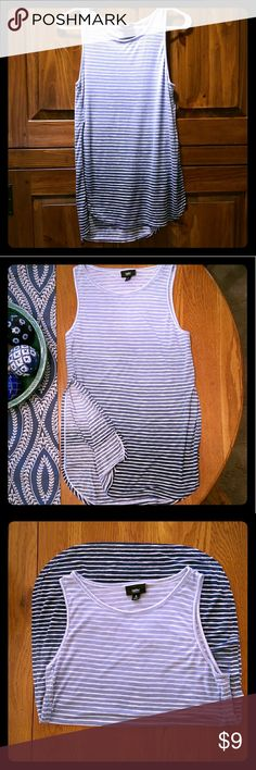 Mossimo Ombre Striped Side-Splitter Tank Gorgeous Blue Ombre Striped Side-Splitter Tank Top! Fitted and flowy in all the right places. Perfect for business casual attire! EUC Mossimo Tops Tank Tops