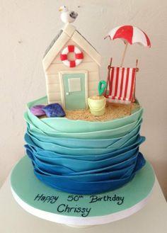 A beach hut themed cake - by cakeali @ CakesDecor.com - cake decorating website