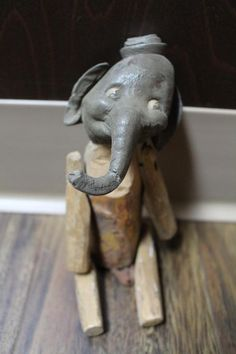 RARE Antique 1900? circus elephant hand carved tramp art toy nodder jointed #Unbranded