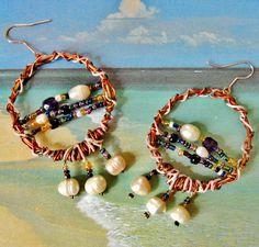 Boucles d'oreille Créoles bohème perles de culture : Boucles d'oreille par patynett