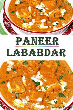 Paneer lababdar Paneer lababdar is a punjabi dish made with paneer. North Indian Paneer lababdar is a rich, creamy and delicious restaurant style gravy made with Indian cottage cheese (paneer). onions, tomatoes and basic spice blend. Paratha Recipes, Paneer Recipes, Veg Recipes, Healthy Recipes, Spicy Recipes, Curry Recipes, Cooking Recipes, Cooking Tips, Gourmet