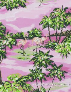 Flamingo fabric: Flamingo and palm trees on a pink background. By HawaiianFabricNBYond.Etsy.com Flamingo Fabric, Thing 1, Tropical Houses, Marine Life, Diy Kits, Hibiscus, Palm Trees, Plant Leaves, Upholstery