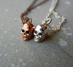 Tiny Skull Best Friend Necklace Set by PricklyHearts on Etsy, $22.00