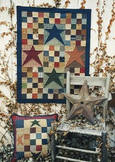 Primitive folk art quilt wall hanging and pillow pattern - constellation