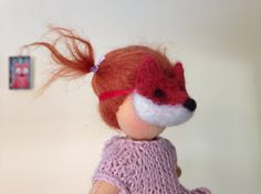 Fox Mask for Waldorf Doll - Costume - Toy Mask - Make-believe - Pretend Play - Miniature Felted Fox Character