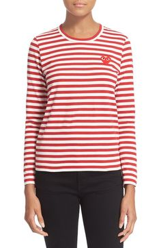 Free shipping and returns on Comme des Garçons PLAY Stripe Cotton Tee at Nordstrom.com. A wide-eye heart appliqué lends a playful signature touch to this long-sleeve cotton tee patterned in bold two-tone stripes.