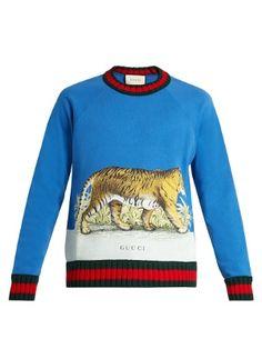 Gucci Walking Tiger-print Cotton Sweatshirt In Sky-blue Burberry Men, Gucci Men, Hermes Men, Gucci Gucci, Gucci Shoes, Gucci Sweatshirt, Mens Fashion Wear, Men's Fashion, Moda Masculina