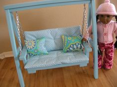 AVAILABLE IN FEBRUARY - Doll Swing Set with Cushion & Throw Pillows for American Girl or 18-inch Doll