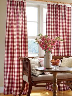 Kitchen valances: Buffalo Check Rod Pocket Curtains