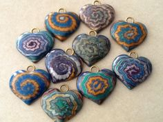 Polymer clay hearts made for a heart swap.  Lisa Haney
